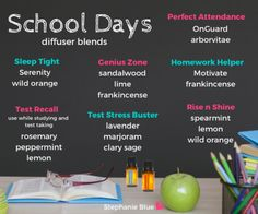 Essential oils + school.  Tons of diffuser recipes for teachers and students.