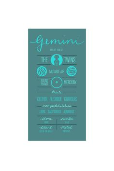 GEMINI. Zodiac Poster. Detailed Description of Astrological Sign