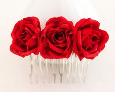 Red rose comb, Hair accessories bridal, For women, Hair comb, Red wedding, Hair comb wedding, Floral hair comb, Hair piece, Red flowers.
