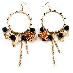 Large Hoop Charm Earrings (Gold Tone) - main view