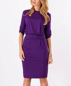 Another great find on #zulily! BeYou Violet Tie-Waist Blouson Dress by BeYou #zulilyfinds
