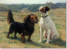Simon Simonsen - A Dachshund and a Jack Russell Terrier 1898 Painting