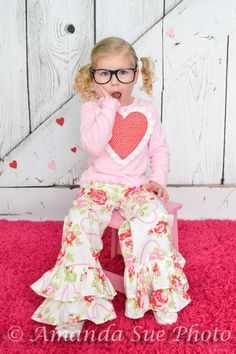 girs double ruffle pants boutique roses by SoSoHippo on Etsy