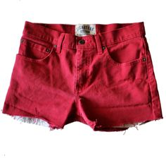 Vintage 90s Levi's Cut Off Red Denim Shorts // Women Small // skinny fit, low rise, grunge era by bluebutterflyvintage on Etsy