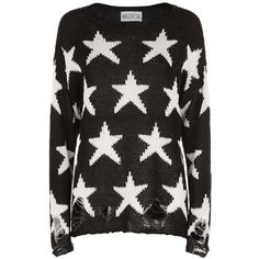 Wildfox Lennon Seeing Stars Sweater ($265) ❤ liked on Polyvore featuring tops, sweaters, boatneck top, bateau neck sweater, star print sweater, loose knit top and loose fit tops