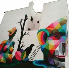 Street Art by Okudart Art Installations, Installation Art, Sculpture Art, Sculptures, Graffiti Cartoons, Okuda, 3d Street Art, Yarn Bombing, Tree Wall
