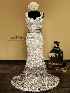98a6c18f514 Baroque Dusty Purple Underlay Vintage Style Lace Wedding Dress with  Sweetheart Neckline and Deep Keyhole Featuring Hand Beaded Satin Sash