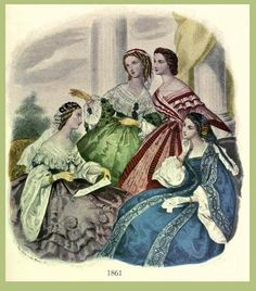 Vintage fashion illustration - 1861 Ladies' gowns