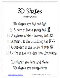 *Lil Country Kindergarten*: 3D Shapes Poem {Freebie} You can tell this did not originate in New England..can of pop.