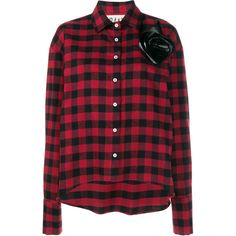 A.W.A.K.E. Plaid Shirt With Removable Floral Brooch ($440) ❤ liked on Polyvore featuring tops, red top, red long sleeve shirt, long sleeve tops, floral shirt and floral tops