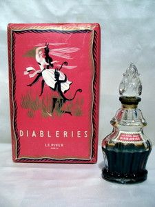 """L.T. PIVER """"DIABLERIES"""" FLACON DE PARFUM 1930 VINTAGE SEALED PERFUME BOTTLE"""