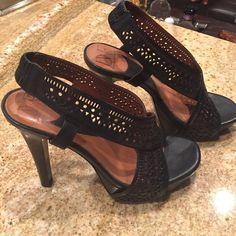 Black DVF Sandals Black high heel (4-5 inch) leather DVF Sandals. Slingback... Perforated leather front...wood platform and heel . Diane von Furstenberg Shoes Platforms