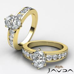Oval Diamond Channel Set Engagement Ring GIA H VS2 Clarity 14k Yellow Gold 1.7 ct
