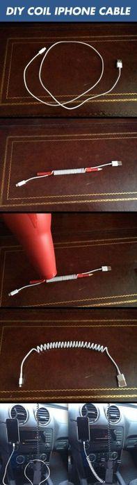 Зарядные устройства дл телефонов-планшетов всегда с собой теперь носим. У меня в сумке - сразу три. Мало того, что они между собой переплетаются, так ещё и мелкие предметы запутывают. Вот как просто, оказывается, сделать из длинного провода можно сделать кудряшку