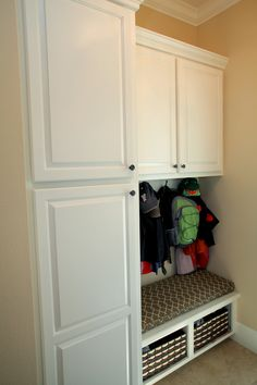 more simplistic, but very functional.  Could jazz it up with painted cabinets or chalkboard fronts.