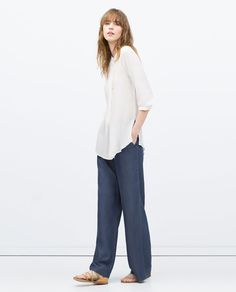 Image 1 of LARGE PIN TUCK BLOUSE from Zara