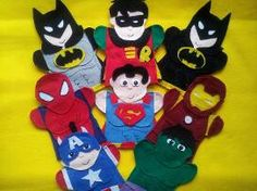 The Best Felt hand puppets online. Lisa Puppet Maker also does custom orders. Puppets make great teaching aids for school, daycare, special needs and therapy. Order your puppets today! Superman And Spiderman, Superman Party, Batman Robin, Superhero Party, Felt Puppets, Felt Finger Puppets, Puppet Patterns, Felt Patterns, Fun Crafts For Kids
