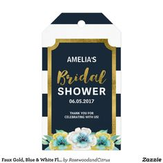 Faux Gold, Blue & White Floral Bridal Shower Gift Tags by Rosewood and Citrus on Zazzle