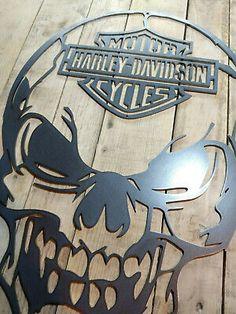 Harley Davidson Decals, Harley Davidson Wallpaper, Harley Davidson Bikes, Skull Wall Art, Metal Tree Wall Art, Metal Art, Bobber Bikes, Motorcycles, Retro Room