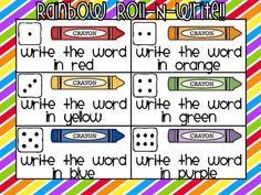 Rainbow Roll-N-Write Reading Street Kindergarten Words - Live Love Laugh Kindergarten - TeachersPayTeachers.com