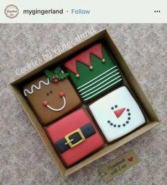 Christmas Sugar Cookies, Christmas Sweets, Christmas Cooking, Noel Christmas, Holiday Cookies, Christmas Gifts, Decorated Christmas Cookies, Christmas Design, Christmas Squares