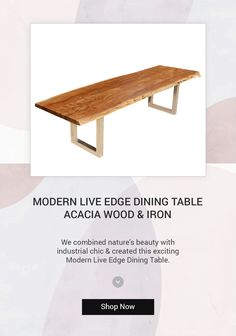 We combined nature's beauty with industrial sheik and created an exciting contemporary hardwood table. #diningtable #interiordesign #furniture #diningroom #homedecor #table #interior #diningchair #furnituredesign #design #coffeetable #woodworking #diningroomdecor #wood #suarwood #livingroom #home #chair #decor #solidwood #dining #customfurniture #diningchairs #interiors #handcrafted #liveedge #acaciawood #liveedgetable #iron Hardwood Table, Dining Chairs, Dining Table, Live Edge Furniture, Live Edge Table, Sheik, Wood Surface, Rustic Elegance, Acacia Wood