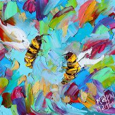 Bee Happy painting original oil 6x6 palette knife by Karensfineart