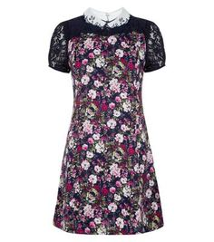 Tenki Blue Lace Sleeve Floral Print Collared Dress