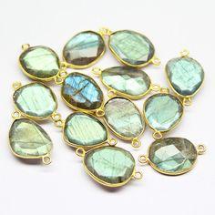 Labradorite Handmade 925 silver Gold Vermeil Bezel Connector Station – Jewels Exports