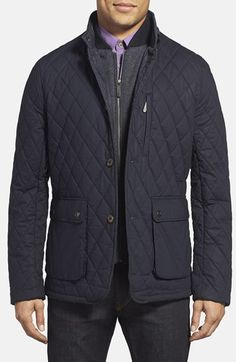 Ted Baker London 'Garyen' Diamond Quilted Jacket with Herringbone Liner