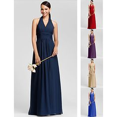 b6729733d0a Floor-length Chiffon Bridesmaid Dress - Ruby   Grape   Royal Blue    Champagne