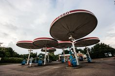 The now listed parasol petrol station design by Elliot Noyes. On the A6 in Birstall, Leicestershire.