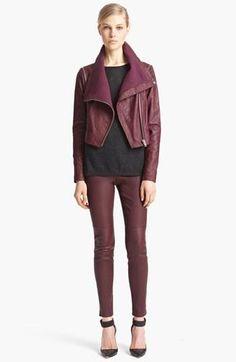 Swoon! Yigal Azrouël Bordeaux Lambskin Leather Moto Jacket & Leather Leggings