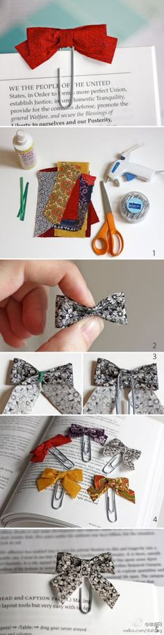 DIY :: Bow tie paper clips from fabric scraps.would make really cute hair bow attached to a clip instead Cute Crafts, Crafts To Do, Creative Crafts, Crafts For Kids, Arts And Crafts, Paper Crafts, Diy Paper, Easy Crafts, Craft Gifts