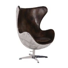 Aviator Brown Leather Egg Chair