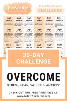 FREE 30-day Overcome Bible Scripture Challenge Printable