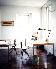 Dark wooden floors and light walls