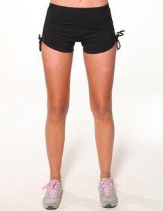 ec516b1bd1e48 Side tie-up hot shorts by Blockout womens sports wear - Black - S