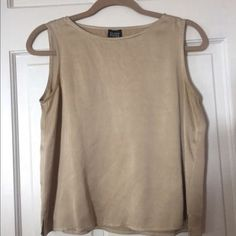 Eileen-Fisher-Beige-Pure-Silk-Tank-Top-Cami-Shell-Womens-Small-S