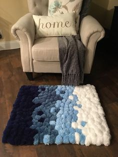Latest Snap Shots Crochet rug pom pom Suggestions x Pom Pom Rug This beautiful lush Pom Pom Rug with rich colors ranging from Soft Navy t Diy Carpet, Beige Carpet, Rugs On Carpet, Hall Carpet, Carpets, Diy Pom Pom Rug, Pom Pom Crafts, Diy Crafts To Sell, Home Crafts