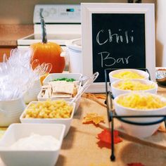Fall birthday party Chili bar First birthday party