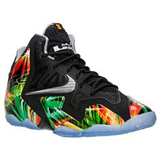 Boys' Grade School Nike LeBron XI Basketball Shoes | FinishLine.com | Black/Metallic Silver/Wolf Grey/Atomic