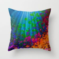 UNDER THE SEA Bold Colorful Abstract Acrylic Painting Mermaid Ocean Waves Splash Water Rainbow Ombre Throw Pillow by EbiEmporium - $20.00
