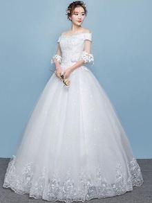 White Sequined Off Shoulder Princess Wedding Dress White Wedding Gowns e4e54ce22060