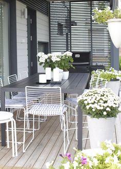 Terraza de verano amueblada. Que linda combinacion de flores, macetas, velas.