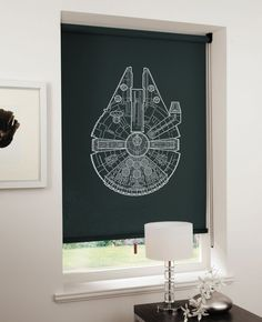 Blueprints on blinds Nice graphic application. These designs are the work of Direct Blinds in the UK. Decoration Star Wars, Star Wars Decor, Star Wars Art, Star Trek, Geeks, Boy Room, Kids Room, Star Wars Bedroom, Blinds For Windows