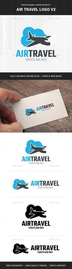 Air Travel Logo Template v2 by LiveAtTheBBQ The Air Travel Logo Template v2A modern and professional logo featuring an airplane with a cloud in the background. All elements