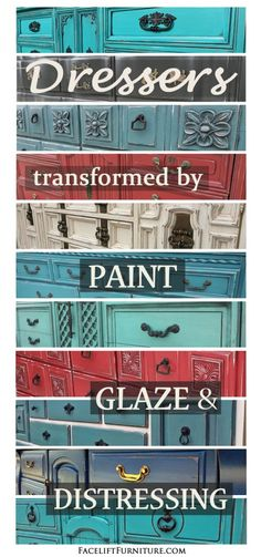 How paint, glaze and distressing open new doors in a home for dressers. From the Facelift Furniture DIY Blog.