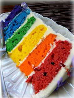 This is the cake I made for Rivers' second birthday.  There are a lot of rainbow cakes out there but this one is fruity, a different flavor for each layer.  I can't find the original post for it but this is a link to someone who made it from the same source that I used.