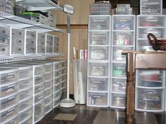All plastic drawer storage/ if only my craft room looked like this
